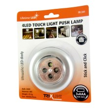 LED Touch Nachtlampe 4xLED/0,2W/3xAAA silber