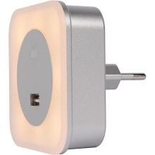 Lucide 22203/01/36 - LED-Orientierungsleuchte in die Steckdose mit USB LED/1W/230V