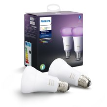 SET 2x LED Dimmbare Glühbirne Philips HUE WHITE AND COLOR AMBIANCE E27/9W/230V 2000-6500K