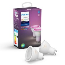 SET 2x LED Dimmbare Glühbirne Philips WHITE AND COLOR AMBIANCE GU10/5,7W/230V 2000-6500K