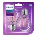 SET 2x LED Glühbirne E27/6W/230V - Philips