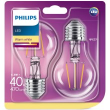 SET 2x LED Glühbirne Philips E27/4,3W/230V 2700K