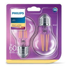 SET 2x LED Glühbirne VINTAGE Philips E27/7W/230V 2700K