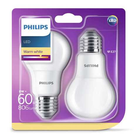 SET 2x LED Leuchtmittel Philips E27/8W/230V