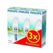 SET 3x dimmbare Halogenglühbirne Philips E14/28W/230V