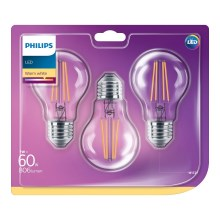 SET 3x LED Glühbirne Philips VINTAGE E27/7W/230V 2700K