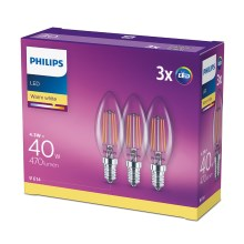 SET 3x LED Glühbirne VINTAGE Philips E14/4,3W/230V 2700K