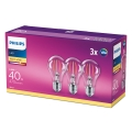 SET 3x LED Glühbirne VINTAGE Philips E27/4,3W/230V 2700K