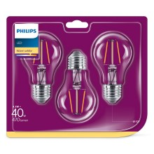 Set 3x LED-Glühbirne VINTAGE Philips E27/4,3W/230V 2700K